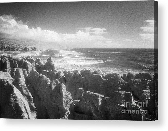 Black & White Acrylic Print featuring the photograph Pancake Rocks Punakaiki West Coast Nz by Colin and Linda McKie