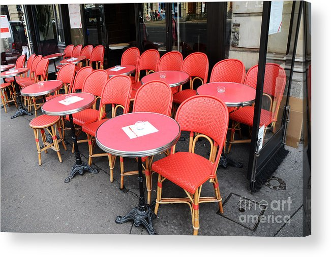 Paris Red Photography Acrylic Print Featuring The Photograph Paris Red Cafe  Chairs   Paris Chaise Rouges