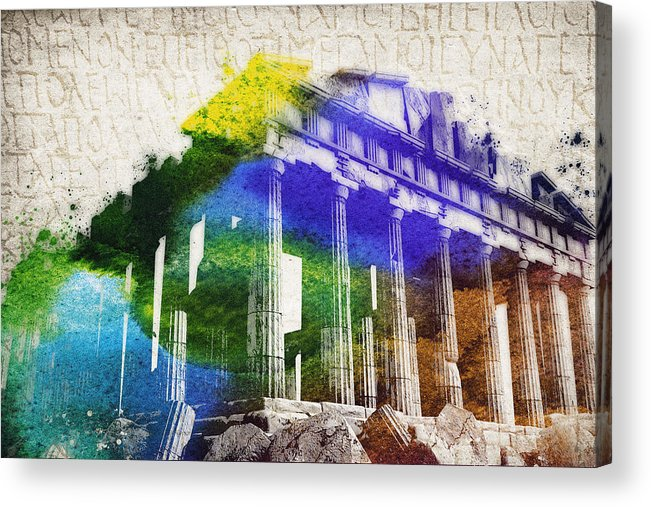 Parthenon Acrylic Print featuring the digital art Parthenon by Aged Pixel