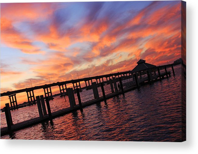 Centennial Park Acrylic Print featuring the photograph Pastel Painted Sky At The Pier by Tamara Gibbs