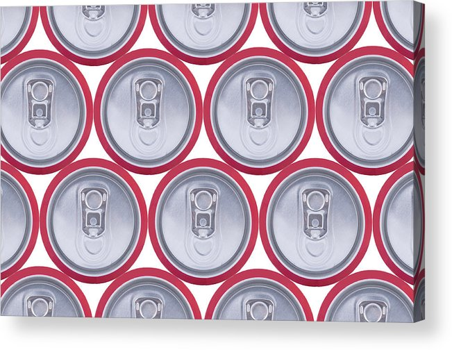 Cola Acrylic Print featuring the photograph Pattern Drink Cans by Oscar Hurtado