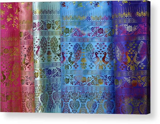 Asia Acrylic Print featuring the photograph Peacocks On Silk by Michele Burgess