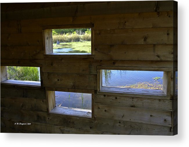 Cedar Hill State Park Acrylic Print featuring the photograph Perch Pond Blind by Allen Sheffield