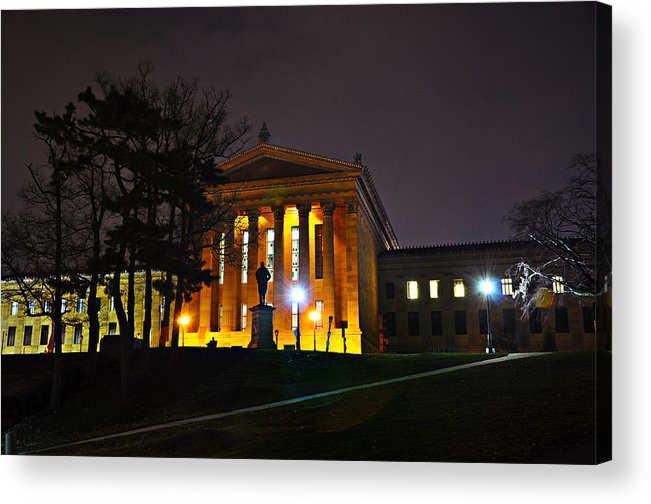 Philadelphia Acrylic Print featuring the photograph Philadelphia Art Museum At Night From The Rear by Bill Cannon