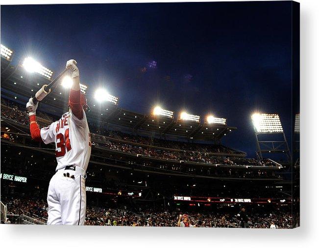 National League Baseball Acrylic Print featuring the photograph Philadelphia Phillies V Washington by Patrick Mcdermott