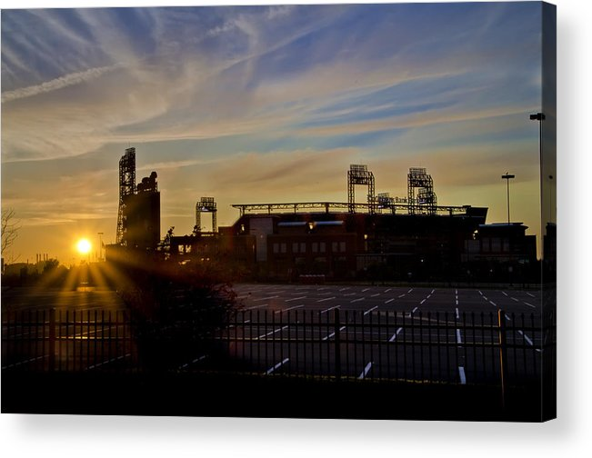 Phillies Acrylic Print featuring the photograph Phillies Citizens Bank Park At Dawn by Bill Cannon