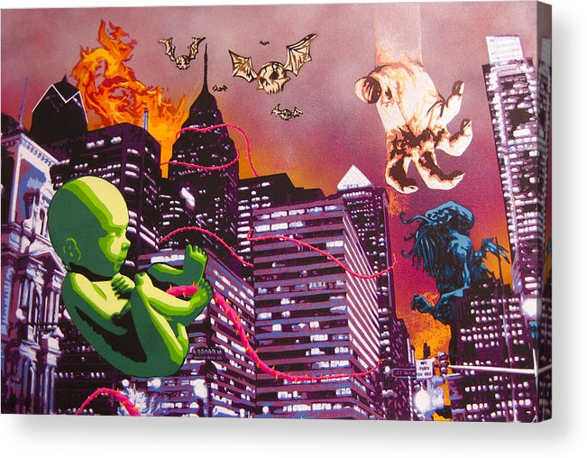 Philly Acrylic Print featuring the painting Philly Rapture by Bobby Zeik