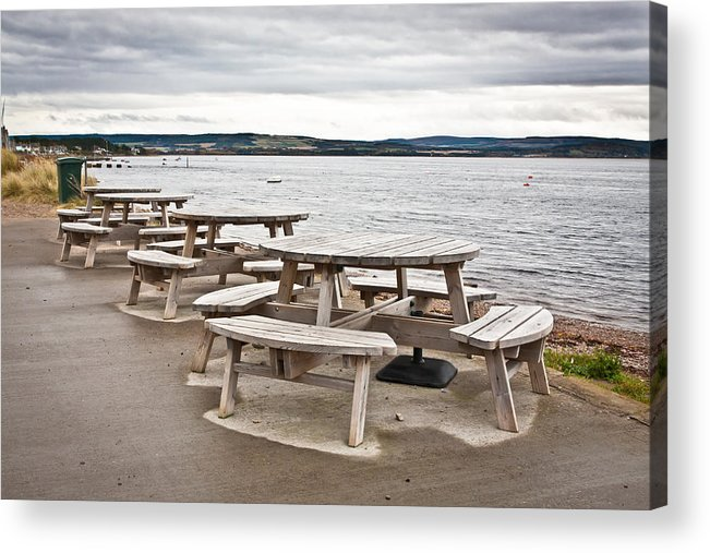 Al Fresco Acrylic Print featuring the photograph Picnic Tables by Tom Gowanlock