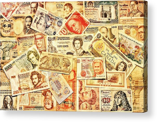 Money Acrylic Print featuring the photograph Pieces Of Paper by Benjamin Yeager