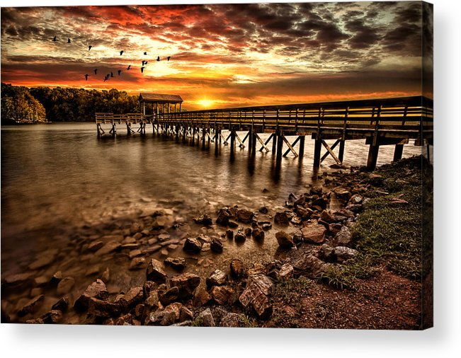Pier Acrylic Print featuring the photograph Pier At Smith Mountain Lake by Joshua Minso