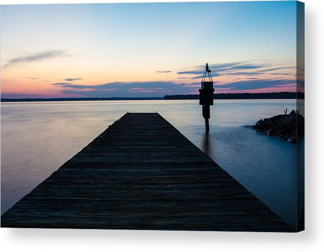 Indian Head Acrylic Print featuring the photograph Pier At Sunset by Leah Palmer