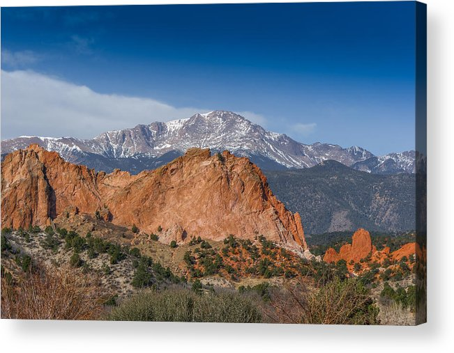Colorado Artwork Acrylic Print featuring the photograph Pikes Peak Behind Garden Of The Gods by Ernie Echols