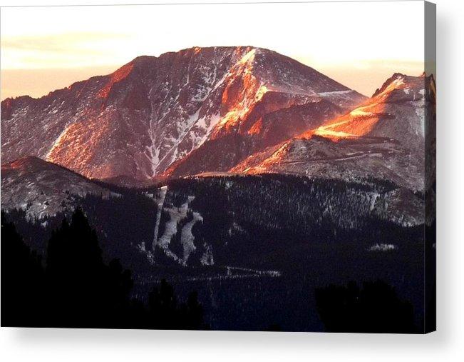 Colorado Acrylic Print featuring the photograph Pikes Peak Sunrise Close-up by Marilyn Burton