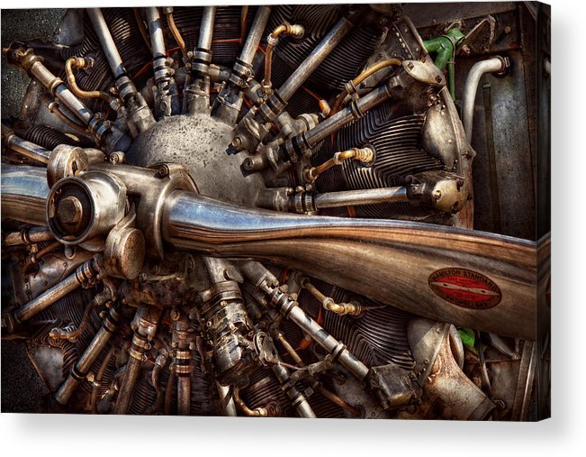 Plane Acrylic Print featuring the photograph Pilot - Plane - Engines At The Ready by Mike Savad