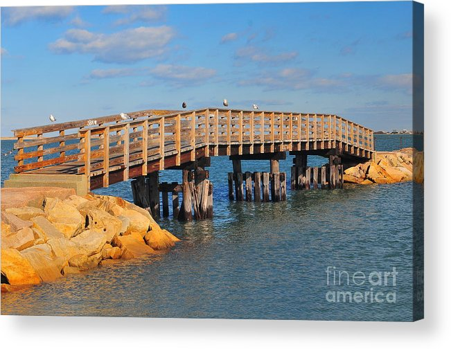 Plymouth Massachusetts Acrylic Print featuring the photograph Plymouth Harbor Breakwater by Catherine Reusch Daley