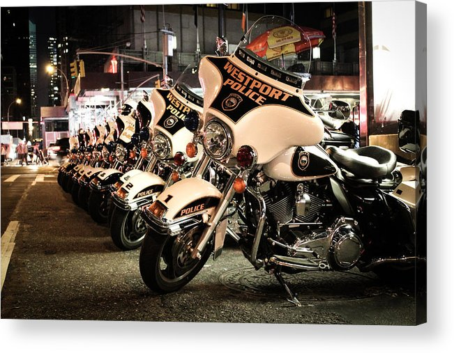 Police Acrylic Print featuring the photograph Police Bikes In New York by Sam Garcia