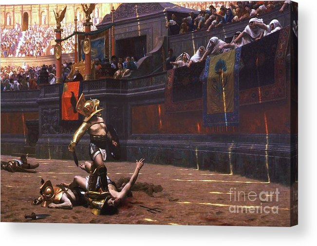 Pd Acrylic Print featuring the painting Pollice Verso by Pg Reproductions