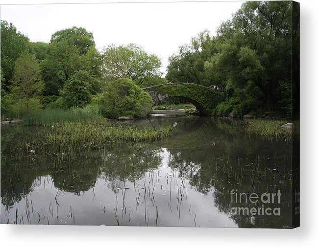 Pond Acrylic Print featuring the photograph Pond And Bridge by Christiane Schulze Art And Photography