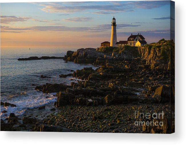 Portland Head Lighthouse Acrylic Print featuring the photograph Portland Head Lighthouse At Dawn by Diane Diederich