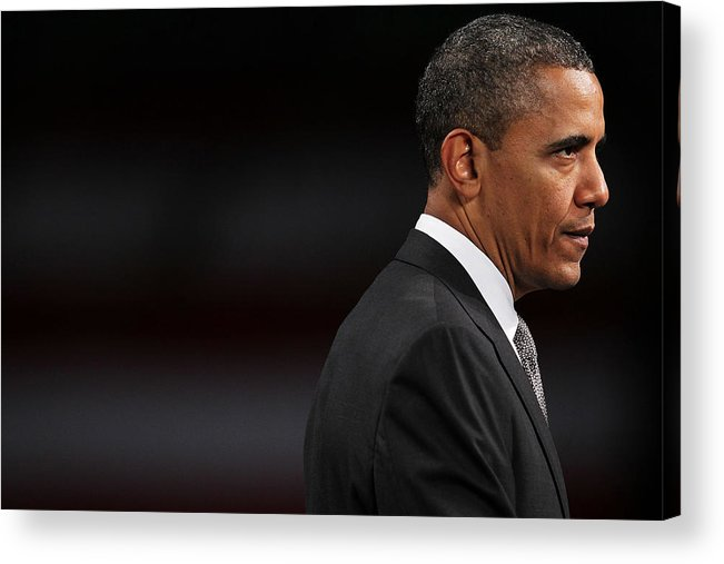 People Acrylic Print featuring the photograph President Obama Speaks On The Economy by Spencer Platt