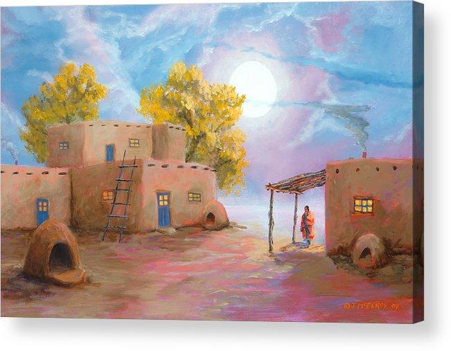 Pueblo Acrylic Print featuring the painting Pueblo De Las Lunas by Jerry McElroy