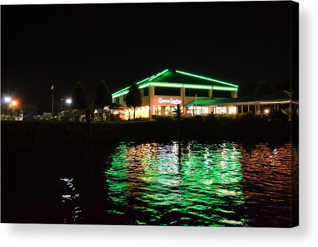 Queens Landing Water Lake Norman Neon Lights At Night Reflections On The Water Acrylic Print featuring the photograph Queens Landing by Robert Loe