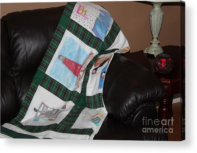 Quilts Acrylic Print featuring the tapestry - textile Quilt Newfoundland Tartan Green Posts by Barbara Griffin