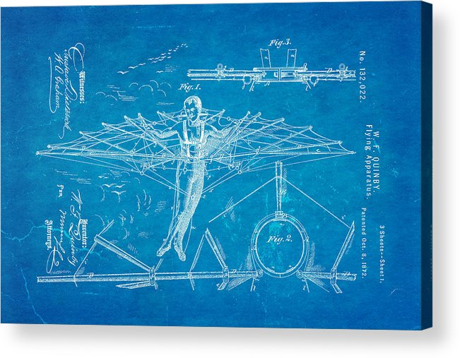 Aviation Acrylic Print featuring the photograph Quinby Flying Apparatus Patent Art 1872 Blueprint by Ian Monk