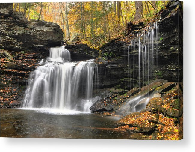 Ricketts Glen Acrylic Print featuring the photograph R. B. Ricketts Falls by Dan Myers