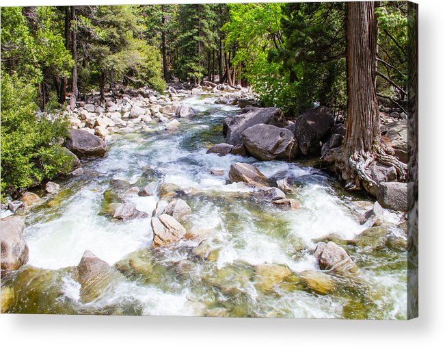 Yosemite Acrylic Print featuring the photograph Rageing River Below Falls by Brian Williamson