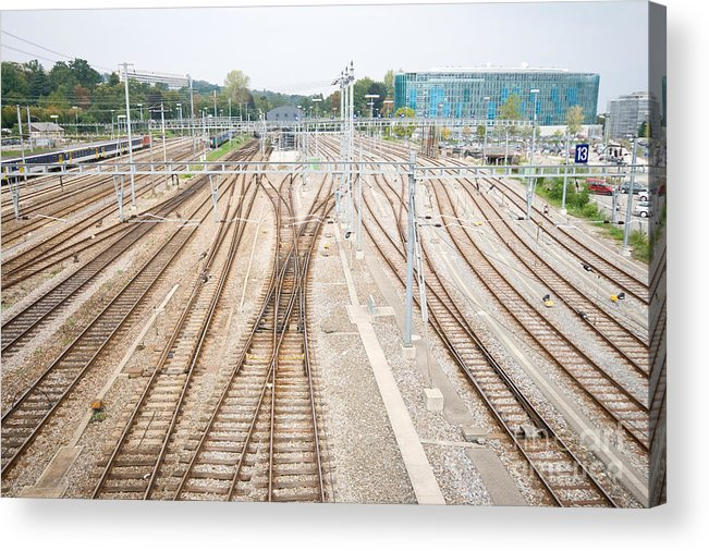 Electrical Acrylic Print featuring the photograph Railroad Train Yard by Jim Pruitt