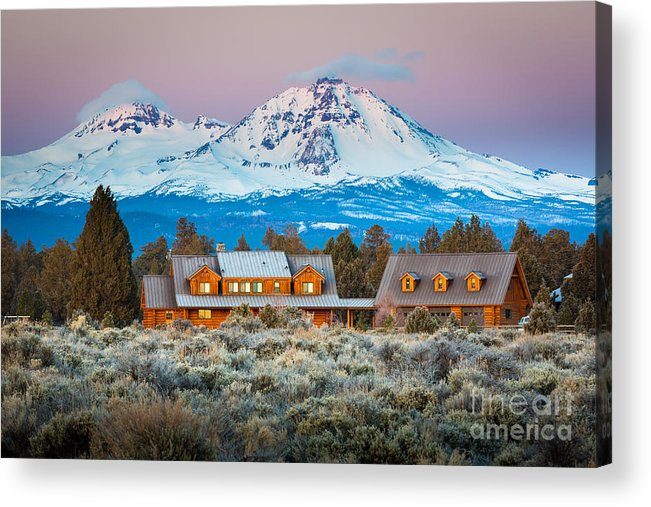 America Acrylic Print featuring the photograph Ranch House And Sisters by Inge Johnsson