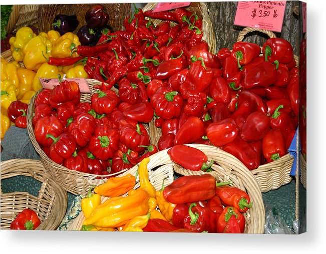 Peppers Acrylic Print featuring the photograph Red And Yellow Peppers by Wendy Raatz Photography