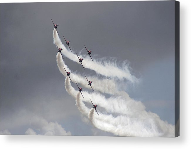 Aerobatics Acrylic Print featuring the photograph Red Arrows Flying In Formation by Steve Ball