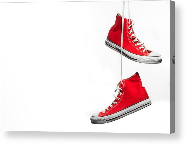 70d16f3471ed1 Hanging Acrylic Print featuring the photograph Red Hanging Sneakers by  Jonathan_kay