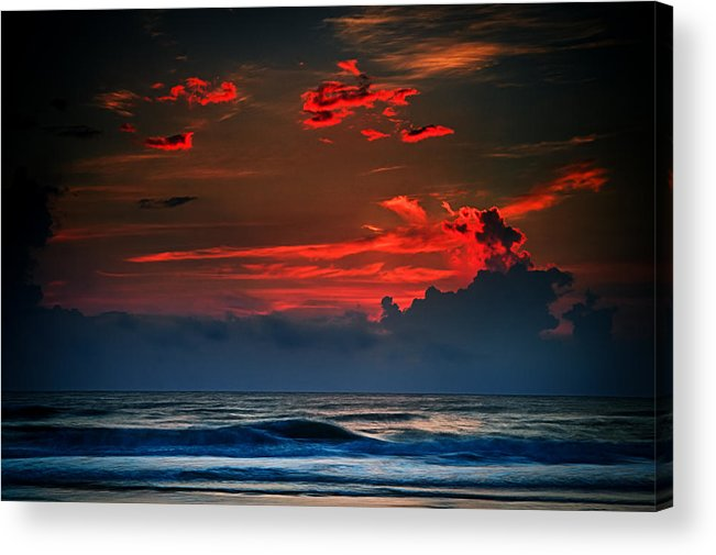 Red Acrylic Print featuring the photograph Red Sky Over Ocean by Jeff Turpin
