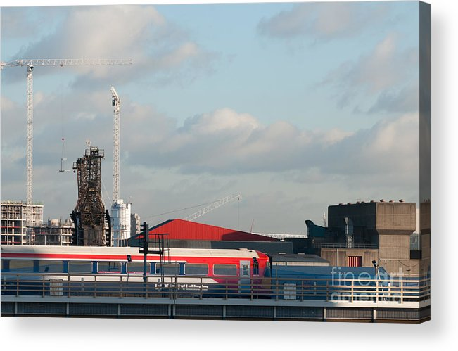 Rail Acrylic Print featuring the photograph Red White And Blue by Carol Weitz