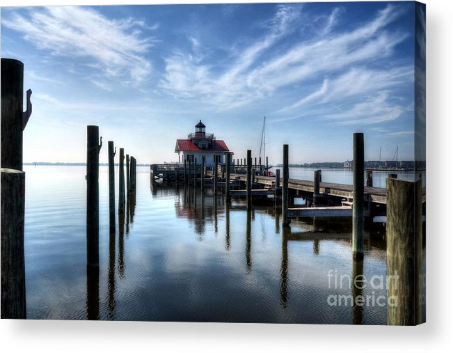 Roanoke Marshes Light Acrylic Print featuring the photograph Roanoke Marshes Light by Mel Steinhauer