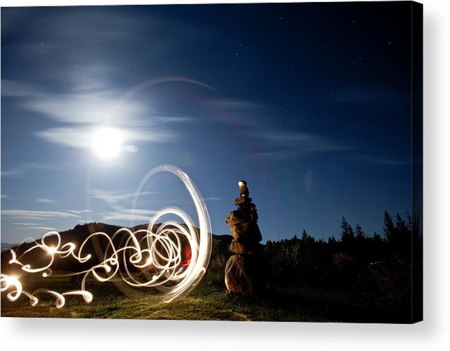 Back Lit Acrylic Print featuring the photograph Rock Cairn With Light Painting Next by Patrick Orton
