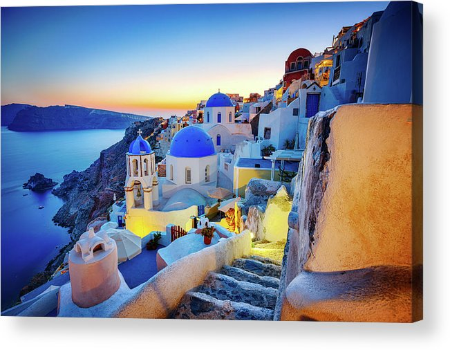 Greek Culture Acrylic Print featuring the photograph Romantic Travel Destination Oia by Mbbirdy
