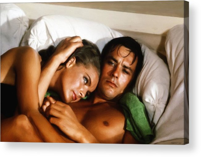 Romy Schneider Acrylic Print featuring the digital art Romy Schneider And Alain Delon by Gabriel T Toro