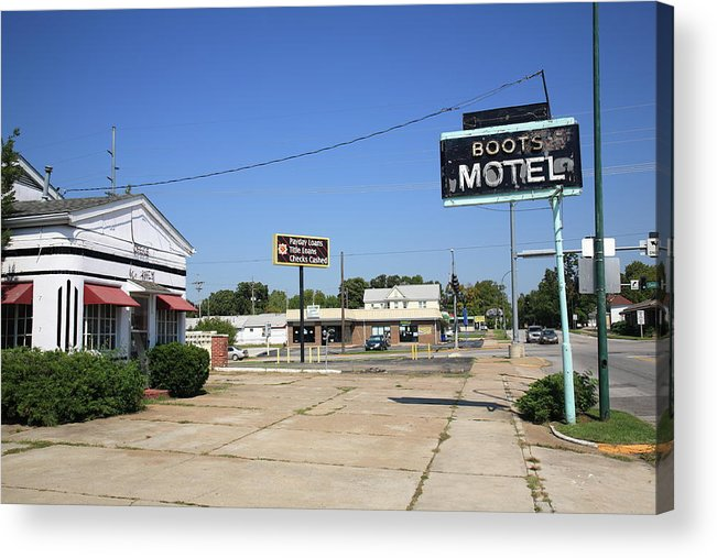 66 Acrylic Print featuring the photograph Route 66 - Boots Motel by Frank Romeo