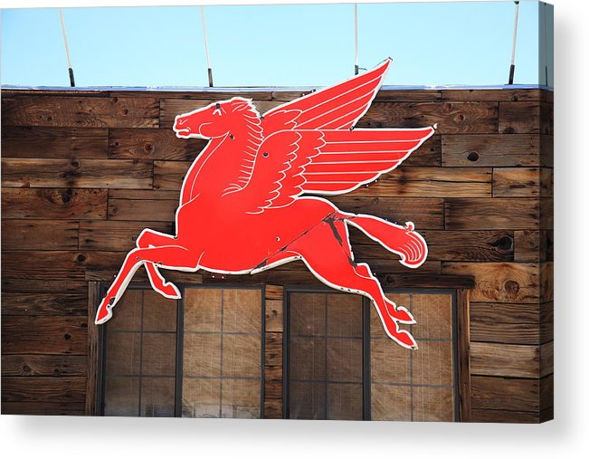 66 Acrylic Print featuring the photograph Route 66 - Mobil Pegasus by Frank Romeo