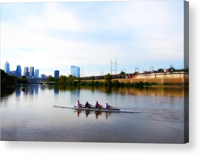 Rowing In Philadelphia Acrylic Print featuring the photograph Rowing In Philadelphia by Bill Cannon