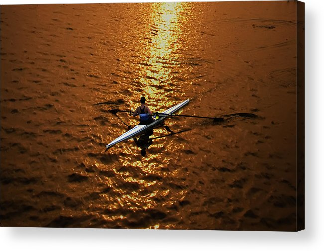 Rowing Acrylic Print featuring the photograph Rowing Into The Sunset by Bill Cannon