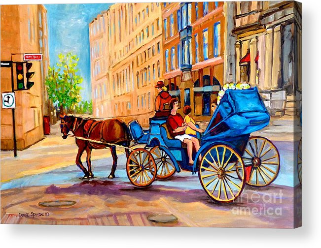 Rue Notre Dame Acrylic Print featuring the painting Rue Notre Dame Caleche Ride by Carole Spandau