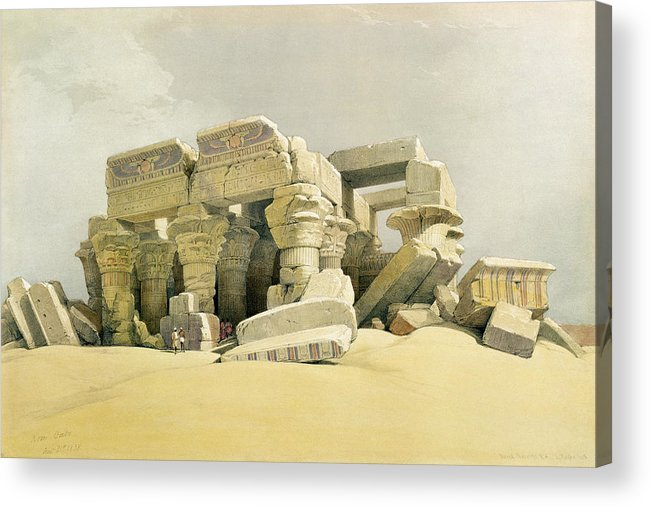 Columns Acrylic Print featuring the painting Ruins Of The Temple Of Kom Ombo by David Roberts
