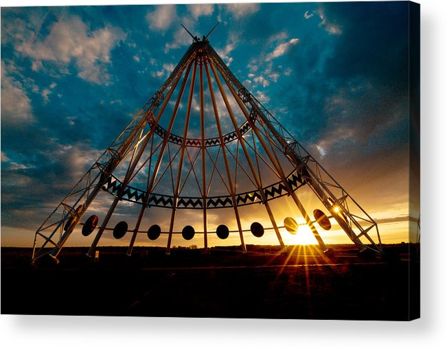 2bf183842de Dawn Acrylic Print featuring the photograph Saamis Teepee Located In  Medicine Hat