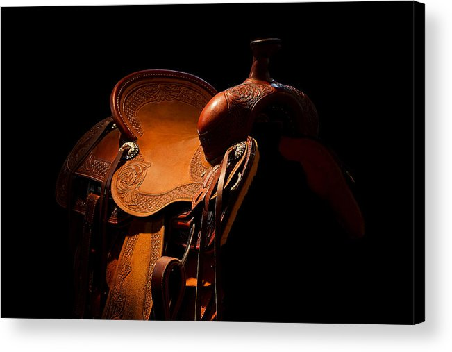 Saddle Acrylic Print featuring the photograph Saddle In The Shop by Mark McKinney