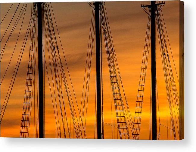 Steven Bateson Acrylic Print featuring the photograph Sailboat Sunrise by Steven Bateson